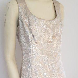 Gino Charles silver gold brocade dress M 1960's